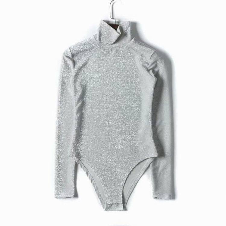 itGirl Shop SHINY LUREX TURTLE NECK LONG SLEEVE BODYSUIT