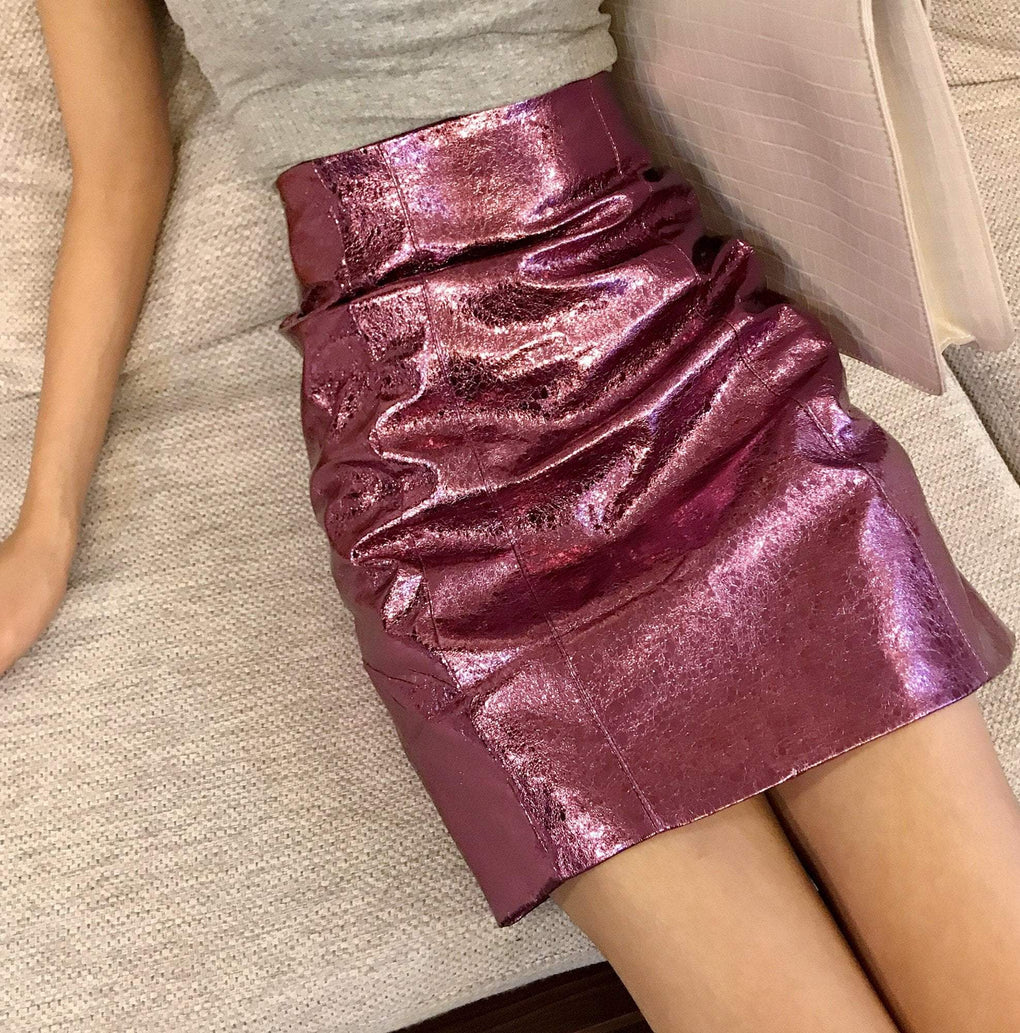 itGirl Shop SHINY PARTY PINK HIGH WAIST METALLIC SKIRT