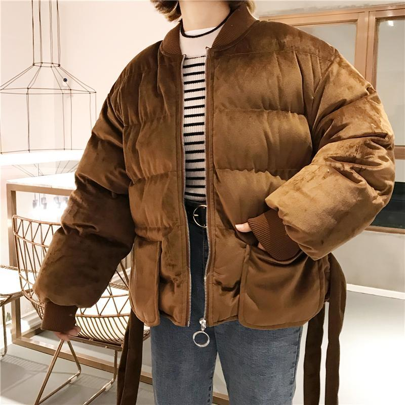 itGirl Shop SHINY SOFT QUILTED PUFF WARM AUTUMN ZIPPER JACKET