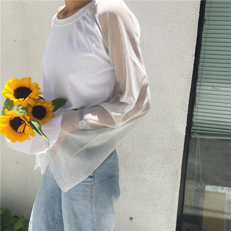 itGirl Shop SHINY TRANSPARENT FLARED SLEEVE