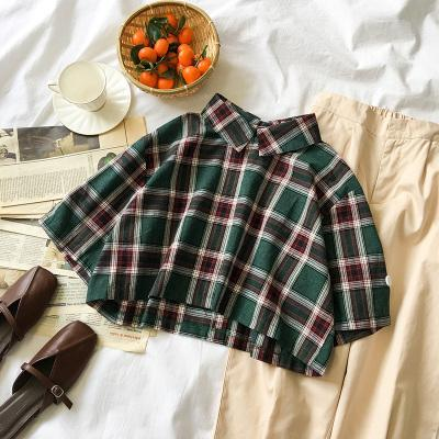 itGirl Shop SHORT PLAID GREEN RED BUTTONS SHORT SLEEVE SHIRT