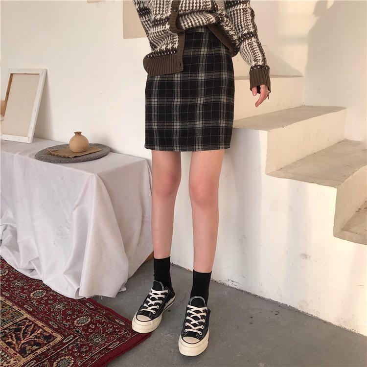 SHORT TARTAN PLAID ZIPPER SKIRT