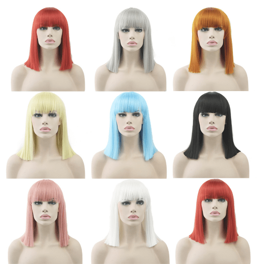 itGirl Shop SHOULDERS LENGTH COLORFUL FAUX WIGHS WITH BANGS