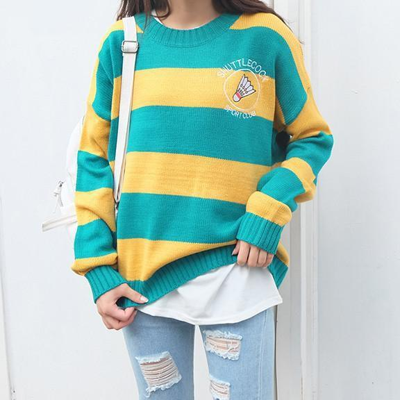 itGirl Shop SHUTTLECOCK SPORT CLUB STRIPED LONGSLEEVE SWEATER