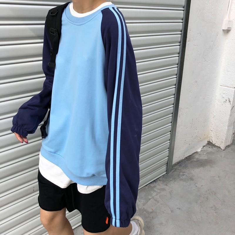 itGirl Shop SIDE STRIPES BLUE COLOR BLOCK OVERSIZED SWEATSHIRT