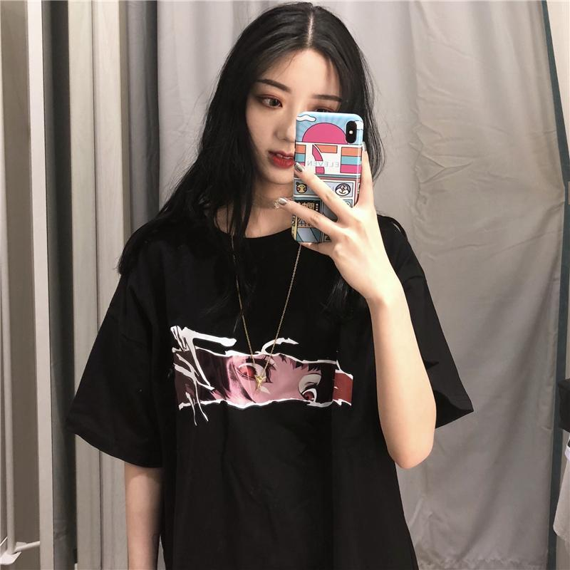 itGirl Shop SIGHT CARTOON ANIME PRINT BLACK OVERSIZED T-SHIRT