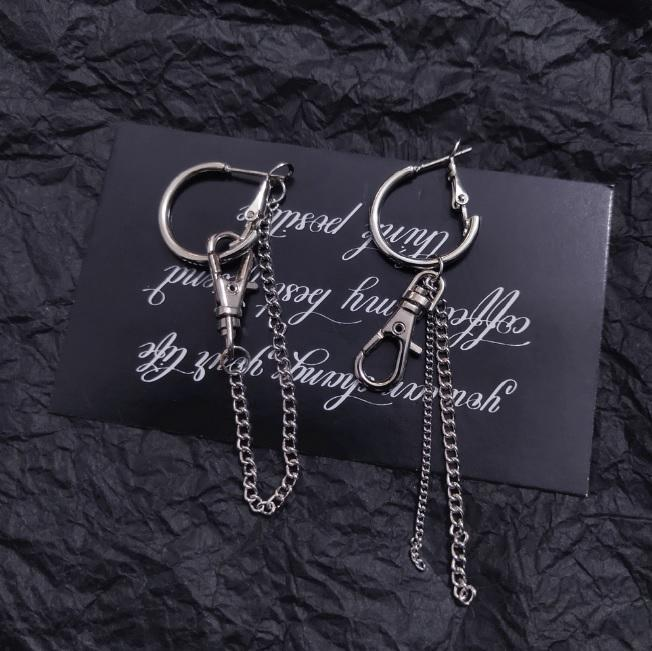 SILVER CHAINS CARABINE STREET FASHION EARRINGS