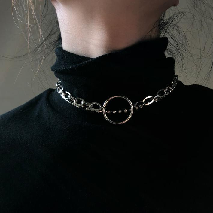 itGirl Shop SILVER DOUBLE CHAINS CIRCLE GRUNGE CHOKER NECKLACE