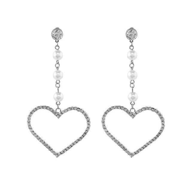 itGirl Shop SILVER GOLDEN PEARL BEANS CHAIN RHINESTONE HEARTS EARRINGS