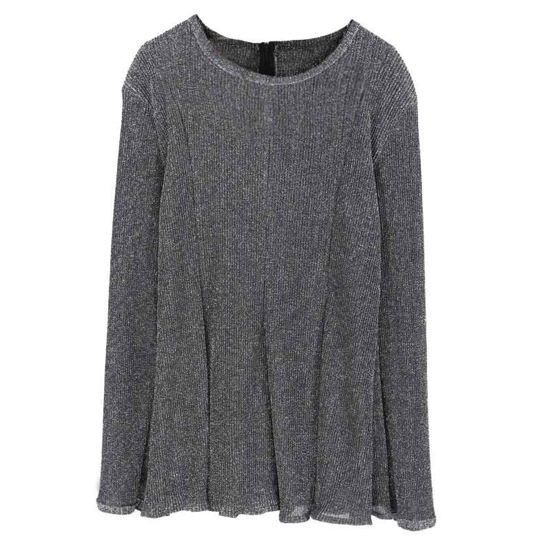itGirl Shop SILVER GRAY OVERSIZED LONG SLEEVE STRIPES KNIT SHORT DRESS