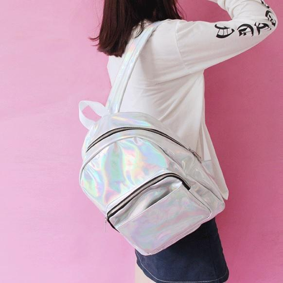 itGirl Shop SILVER HOLOGRAPHIC LASER TWO TYPES ZIPPER BACKPACK