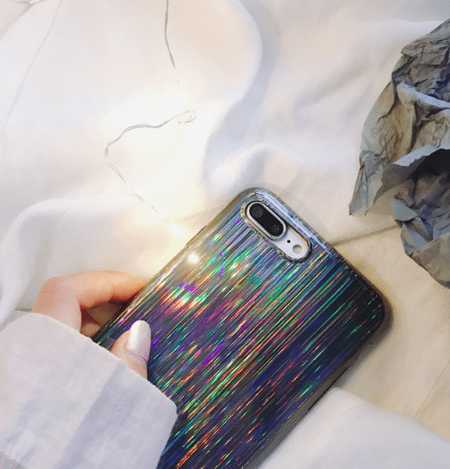 itGirl Shop SILVER LASER HOLOGRAM RAIN TAPE IPHONE 6 AND 7 CASE