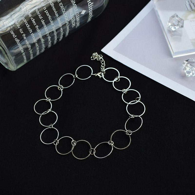 itGirl Shop SILVER METAL RINGS CHAIN PUNK CHOKER