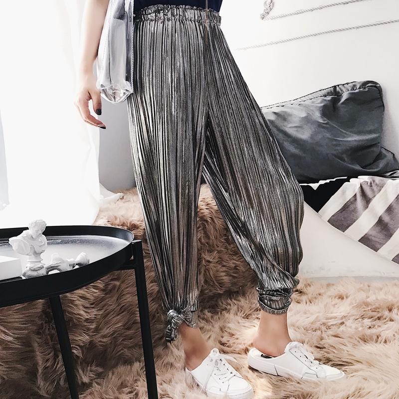itGirl Shop SILVER METALLIC SHINY LONG OVERSIZED ELASTIC ELEGANT PANTS