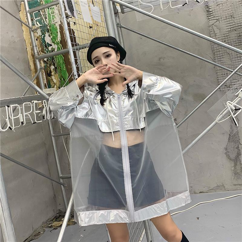 SILVER TRANSPARENT MESH HOODED OVERSIZED JACKET