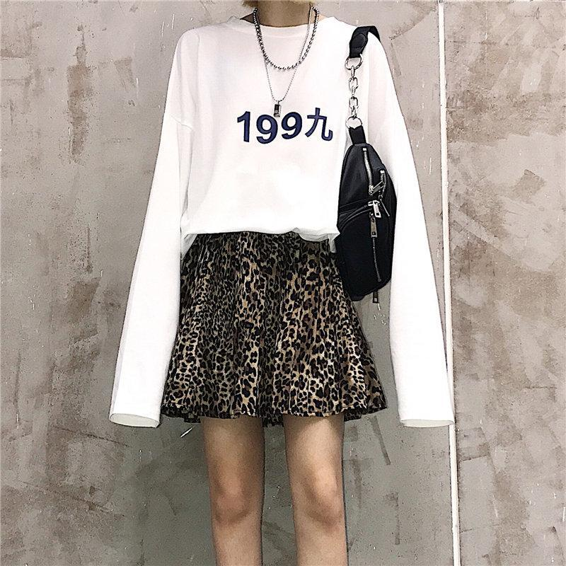 itGirl Shop SIMPLE DIGITAL PRINTING LONG SLEEVE OVERSIZED T-SHIRT