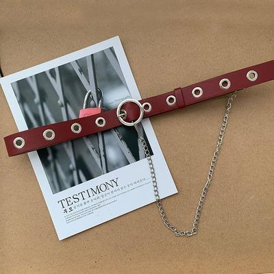 itGirl Shop SIMPLE METAL CHAINS VINTAGE AESTHETIC LEATHER BELTS