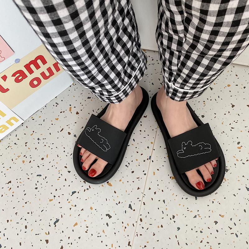 itGirl Shop SIMPLE SUMMER BLACK WHITE PRINTED FLAT SLIPPER SANDALS