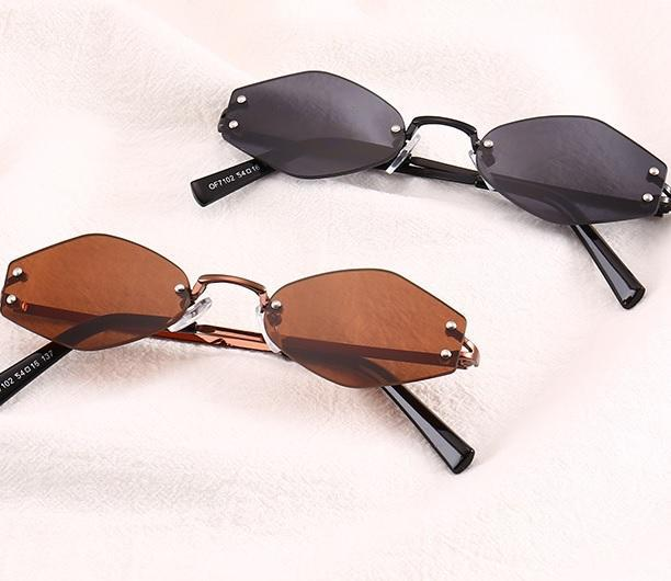 itGirl Shop SIX CORNER SHAPE VINTAGE RETRO RHOMBUS SUNGLASSES