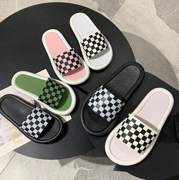itGirl Shop SKATER AESTHETIC CHECKERED RUBBER SLIPPER SANDALS