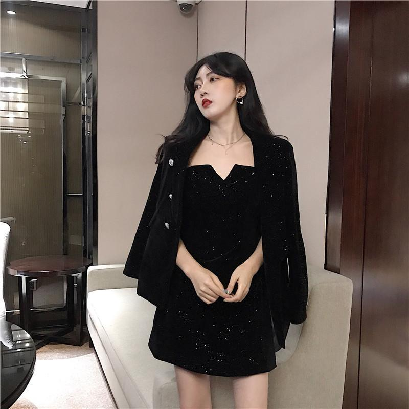 itGirl Shop SLIM BLACK DRESS + VELVET JACKET SUIT 2 PIECE SET