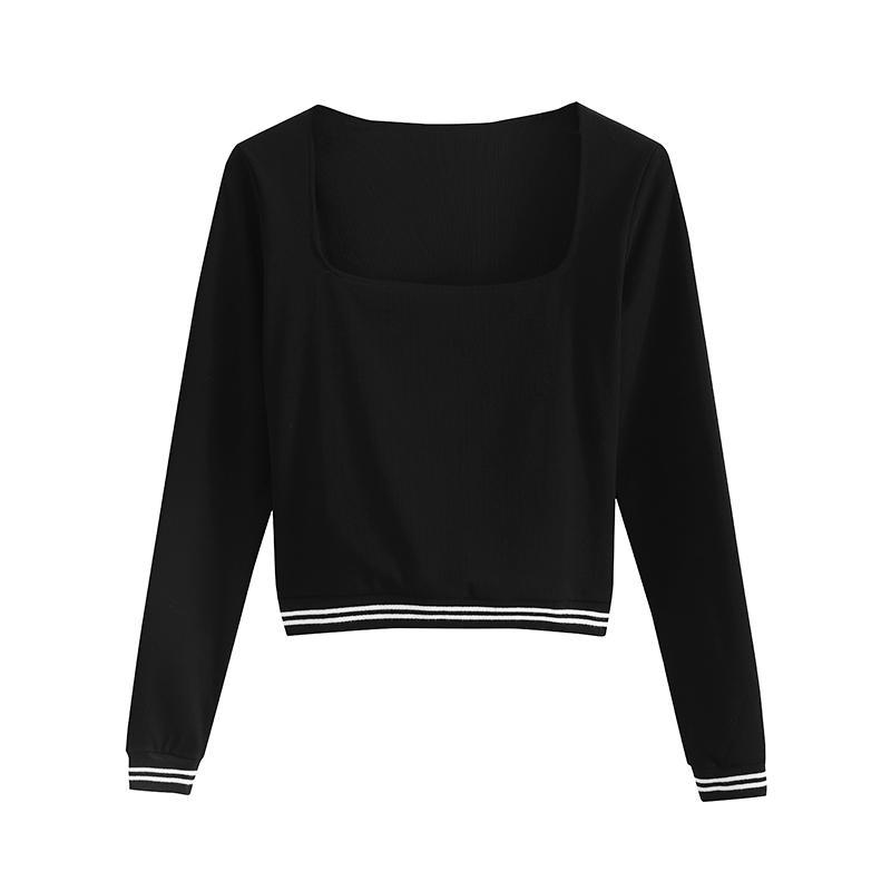 SLIM LONG SLEEVE BLACK LINED EDGES CROP TOP