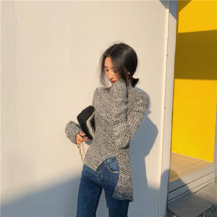 itGirl Shop SLIM TURTLE NECK GRAY CUTOUT KNIT SWEATER