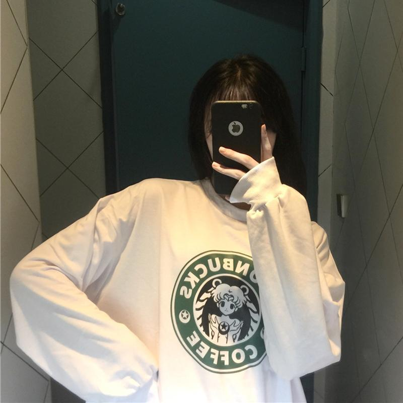 itGirl Shop SM MOONBUCKS COFFEE PRINTED OVERSIZED SWEATSHIRT