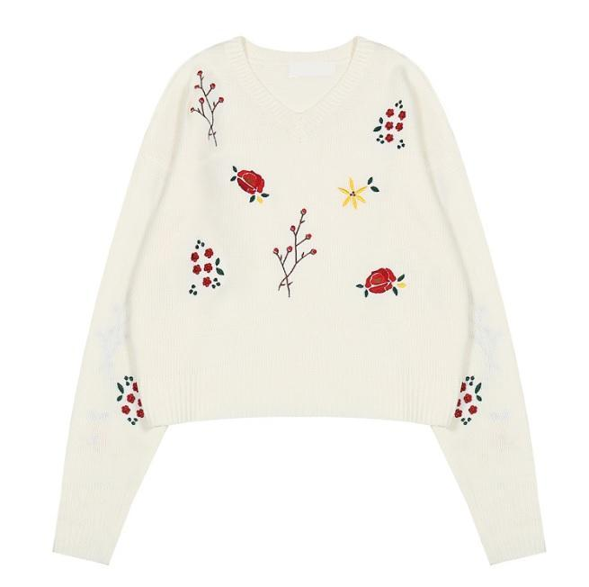itGirl Shop SMALL FLOWERS EMBROIDERIES WHITE BLACK KNIT SWEATER