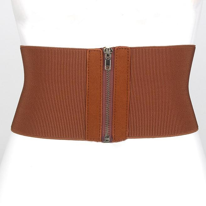 itGirl Shop SMALL FRONT ZIPPER ELASTIC BASIC WAIST ELEGANT BELT