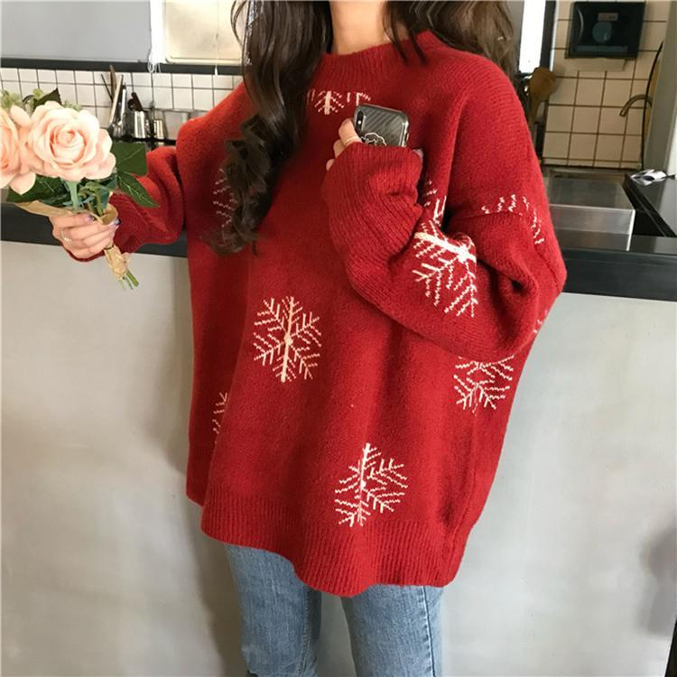itGirl Shop SNOWFLAKE PATTERN KNIT WARM O-NECK SWEATER