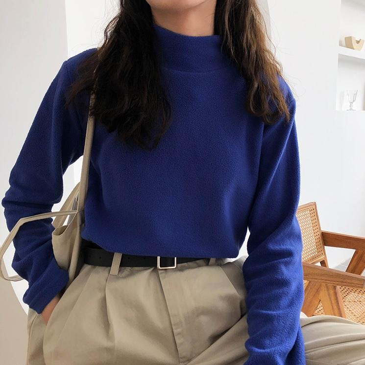 itGirl Shop SOFT AESTHETIC FLEECE HIGH COLLAR SOLID COLOR SHIRT