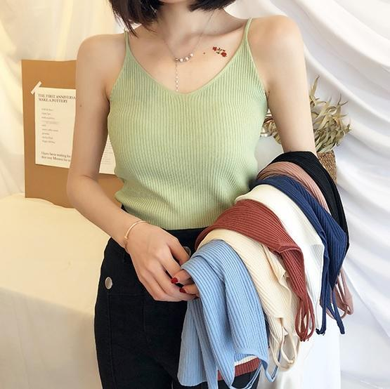 itGirl Shop SOFT AESTHETIC SLIM RIBBED KNIT SLEEVELESS TOP