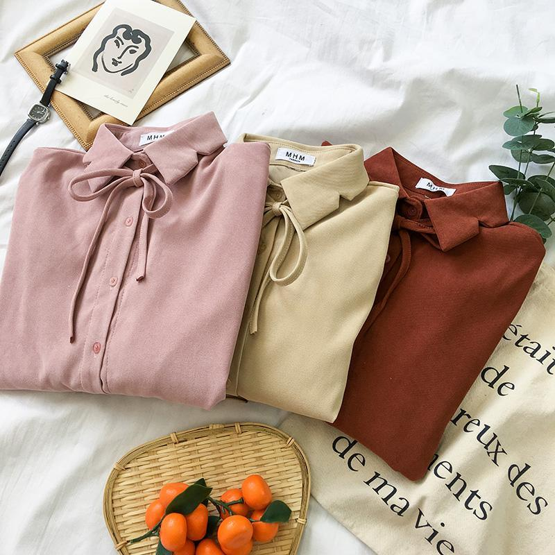 SOFT COLORS LOOSE SLEEVES CUFFS THIN BOW SHIRT