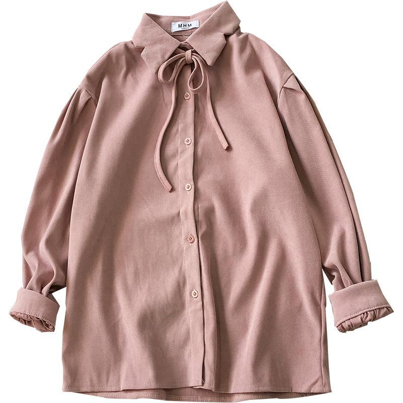 itGirl Shop SOFT COLORS LOOSE SLEEVES CUFFS THIN BOW SHIRT