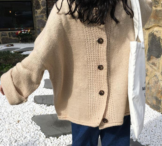 itGirl Shop SOFT COZY KNIT BIG BUTTONS OVERSIZED CARDIGAN