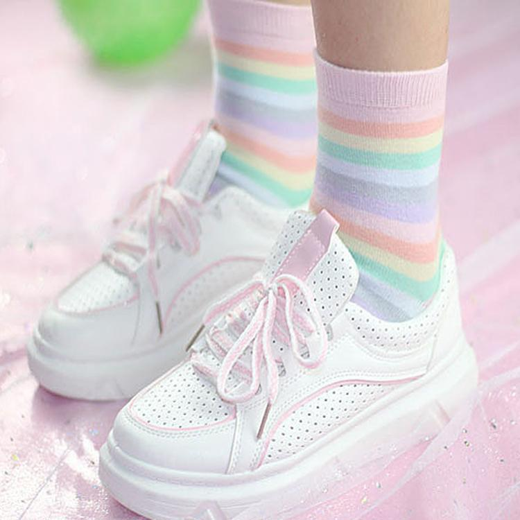 itGirl Shop SOFT PALE PASTEL STRIPES RAINBOW KAWAII ANKLE SOCKS