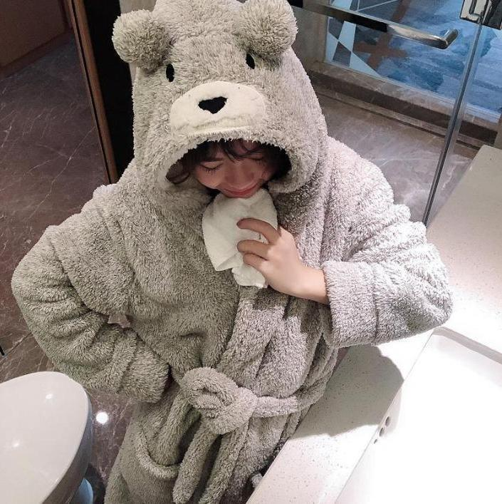 SOFT PLUSH BEAR EARS HOODED BATHROBE LONG SLEEVE SLEEPWEAR PAJAMA