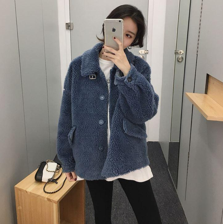 itGirl Shop SOFT PLUSH FAUX FUR HIGH COLLAR COAT JACKET