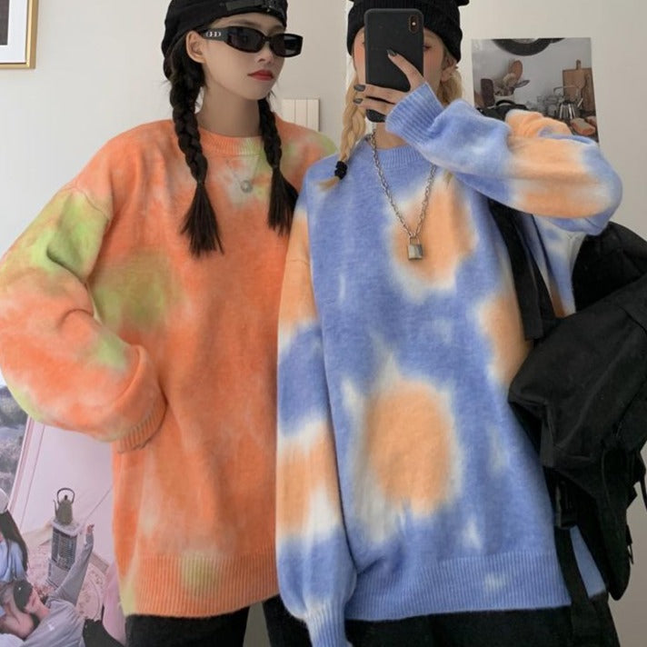 itGirl Shop SOFT TIE DYE PRINTED MOHAIR OVERSIZED SWEATER