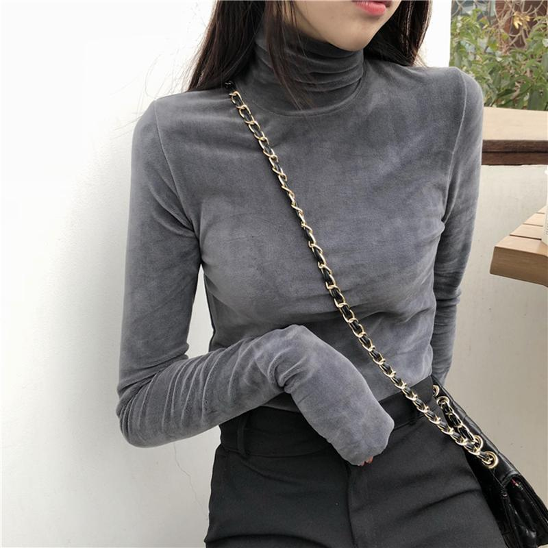itGirl Shop SOFT VELVET KOREAN FASHION TURTLENECK LONG SLEEVE BLOUSE