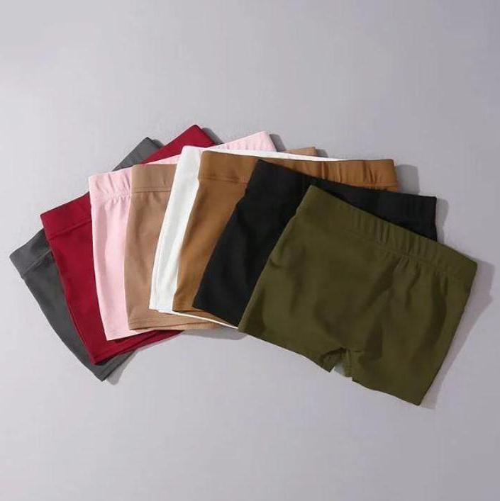 itGirl Shop SOLID COLOR ELASTIC WAIST TIGHT SHORTS