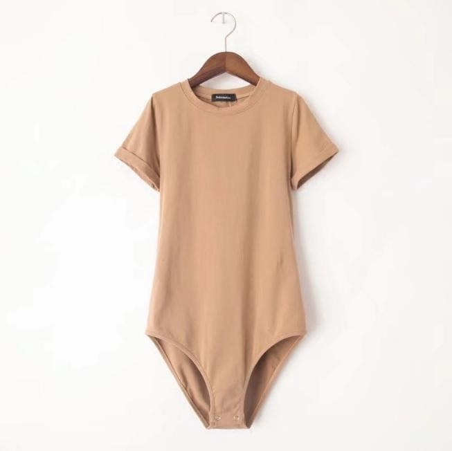 itGirl Shop SOLID COLOR ROUND NECK SHORT SLEEVE BODYSUIT