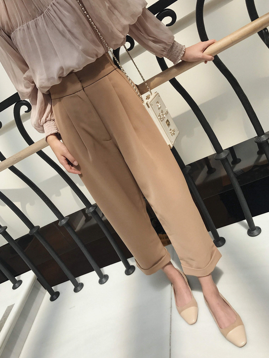 SOLID COLOR WHITE BEIGE BLACK TAPERED WIDE PANTS