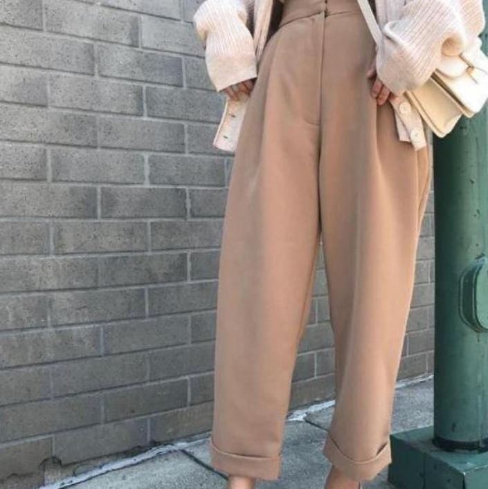 itGirl Shop SOLID COLOR WHITE BEIGE BLACK TAPERED WIDE PANTS