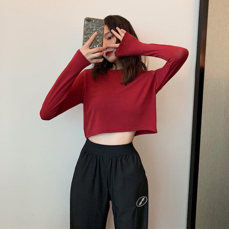 itGirl Shop SOLID COLORS AESTHETIC GIRL CROPPED THIN SHIRT