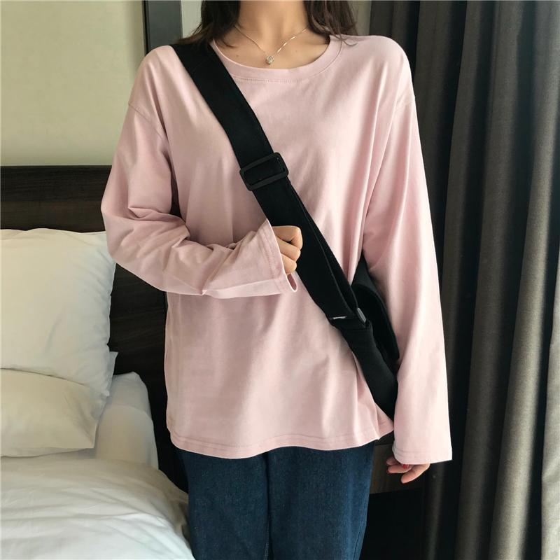 SOLID COLORS AESTHETIC LONG SLEEVE LOOSE SHIRT