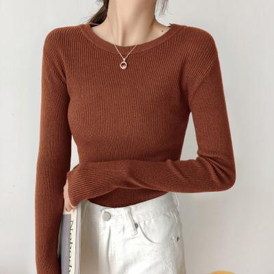 itGirl Shop SOLID COLORS KNIT SLIM LONG SLEEVE SHIRT