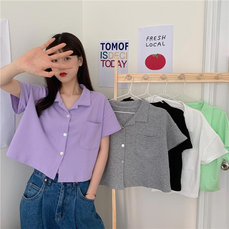 itGirl Shop SOLID COLORS LOOSE CASUAL CROPPED SHIRT