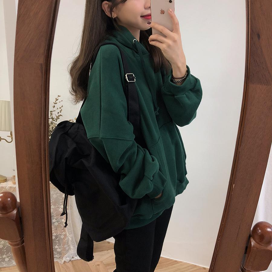 itGirl Shop SOLID COLORS LOOSE LONG SLEEVED HOODED SWEATSHIRT